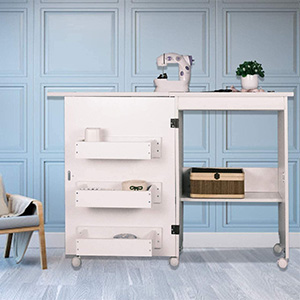 Albott Sewing Cabinet with Lockable Casters